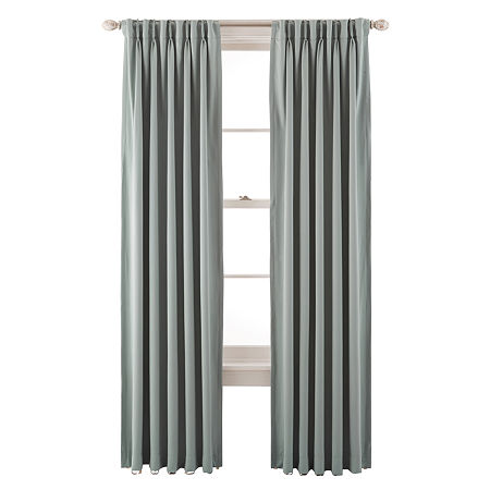 JCPenney Home Kathryn Energy Saving Light-Filtering Pinch-Pleat Single Curtain Panel, One Size , Green
