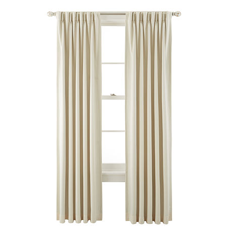 JCPenney Home Kathryn Energy Saving Light-Filtering Pinch-Pleat Single Curtain Panel, One Size , White