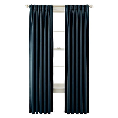 JCPenney Home Kathryn Energy Saving Light-Filtering Pinch-Pleat Single Curtain Panel, One Size , Blue