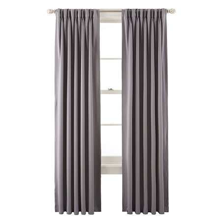 JCPenney Home Kathryn Energy Saving Light-Filtering Pinch-Pleat Single Curtain Panel, One Size , Gray