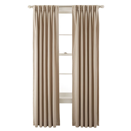 JCPenney Home Kathryn Energy Saving Light-Filtering Pinch-Pleat Single Curtain Panel, One Size , Beige