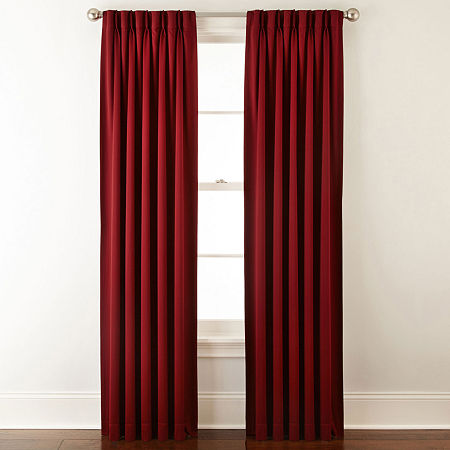 JCPenney Home Kathryn Energy Saving Light-Filtering Pinch-Pleat Single Curtain Panel, One Size , Red