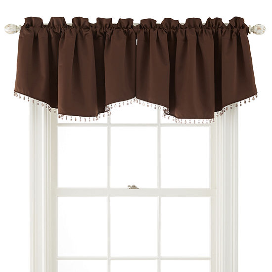 JCPenney Home Kathryn Rod-Pocket Beaded Ascot Valance