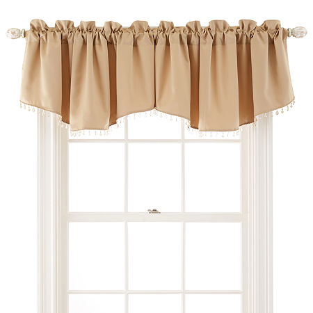 JCPenney Home Kathryn Rod-Pocket Beaded Ascot Valance, One Size , Yellow