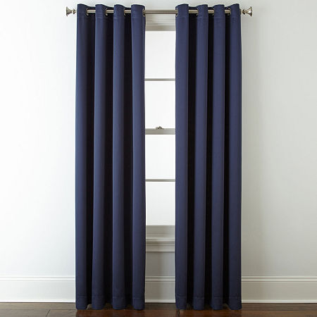 JCPenney Home Kathryn Energy Saving Light-Filtering Grommet-Top Single Curtain Panel, One Size , Blue
