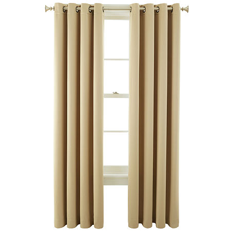 JCPenney Home Kathryn Energy Saving Light-Filtering Grommet-Top Single Curtain Panel, One Size , Yellow