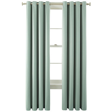 JCPenney Home Kathryn Energy Saving Light-Filtering Grommet-Top Single Curtain Panel, One Size , Green