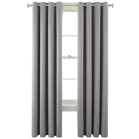 JCPenney Home Kathryn Energy Saving Light-Filtering Grommet-Top Single Curtain Panel, One Size , Gray