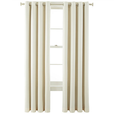 JCPenney Home Kathryn Energy Saving Light-Filtering Grommet-Top Single Curtain Panel, One Size , White