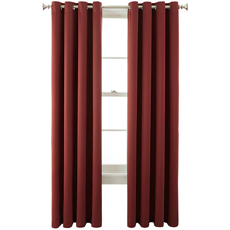 JCPenney Home Kathryn Energy Saving Light-Filtering Grommet-Top Single Curtain Panel, One Size , Red