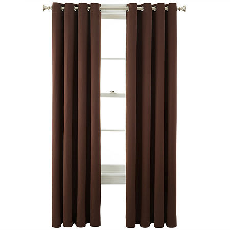 JCPenney Home Kathryn Energy Saving Light-Filtering Grommet-Top Single Curtain Panel, One Size , Brown