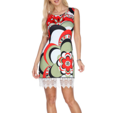 White Mark Mireya Sleeveless Floral Sheath Dress