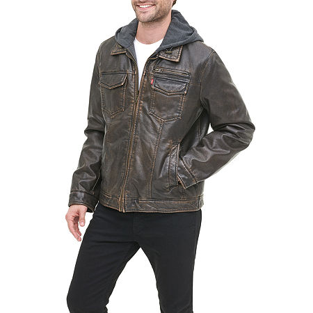 Levi's Faux Leather Sherpa Lined Trucker with Hood