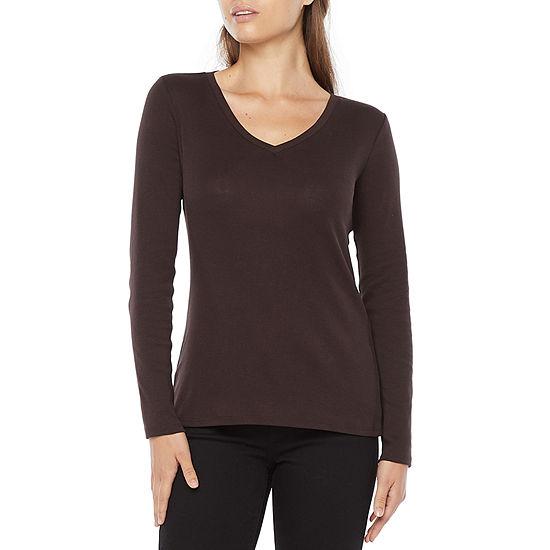 Liz Claiborne Womens V Neck Long Sleeve T-Shirt
