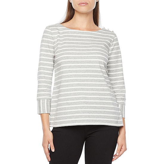 Liz Claiborne Womens Crew Neck 3/4 Sleeve T-Shirt