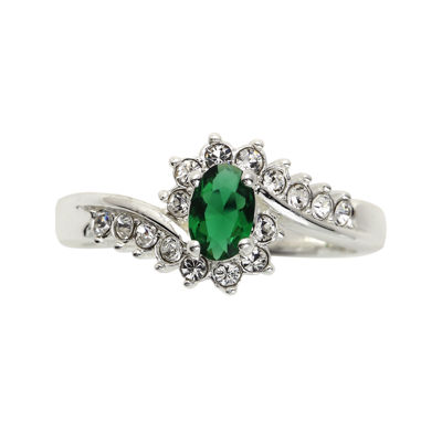 city x city® Cubic Zirconia and Green Stone Oval Ring