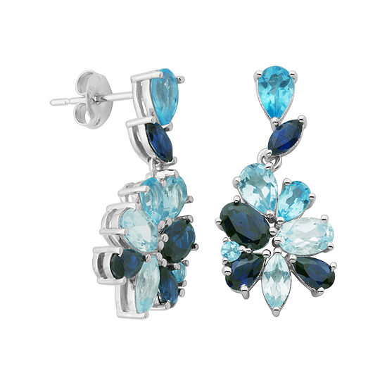 Sterling Silver Shades of Blue Flower Earrings