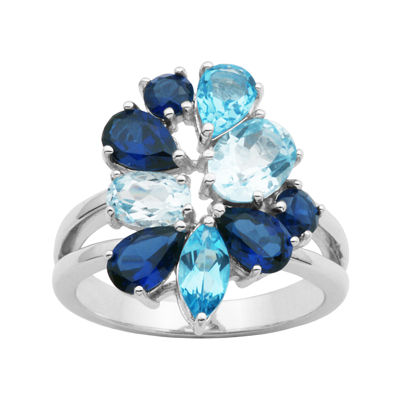 Sterling Silver Shades of Blue Cluster Ring
