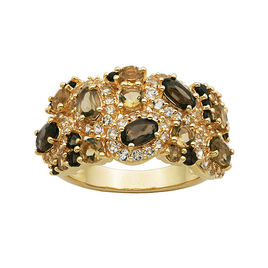 Color-Enhanced Smoky and Yellow Quartz Cluster Ring