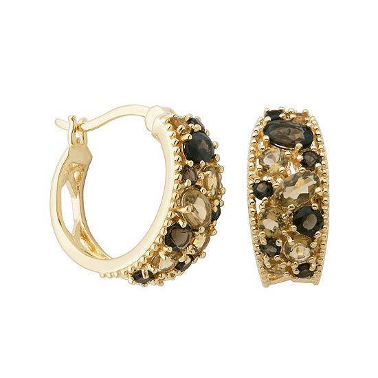 Color Enhanced Smoky And Yellow Quartz Hoop Earrings
