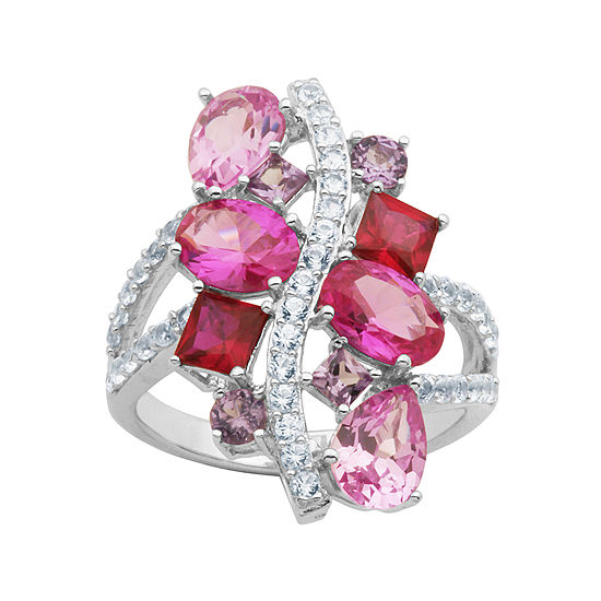 Simulated Amethyst, Pink Sapphire & Ruby Sterling Silver Ring