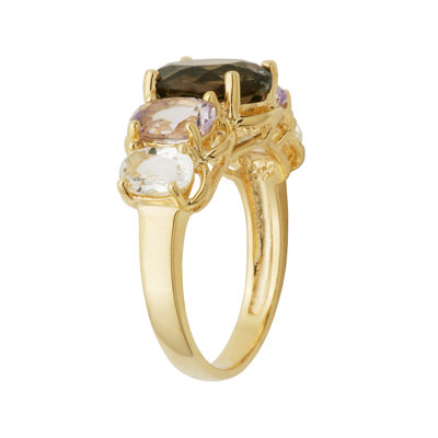 Color-Enhanced Pink Amethyst, Smoky & White Quartz Ring