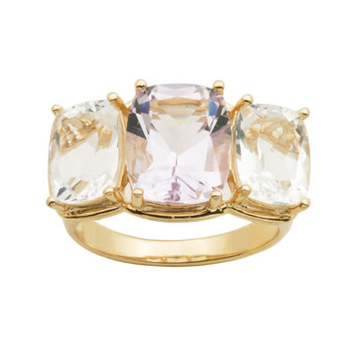Color-Enhanced Pink & White Quartz Ring
