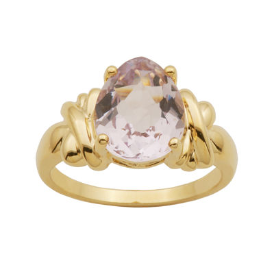Pear-Shaped Color-Enhanced Pink Quartz Ring