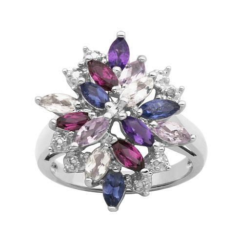 Multicolor Gemstone Cluster Ring