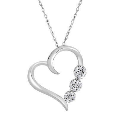 diamond blossom 1/10 CT. T.W. Diamond 3-Flower Heart Pendant Necklace