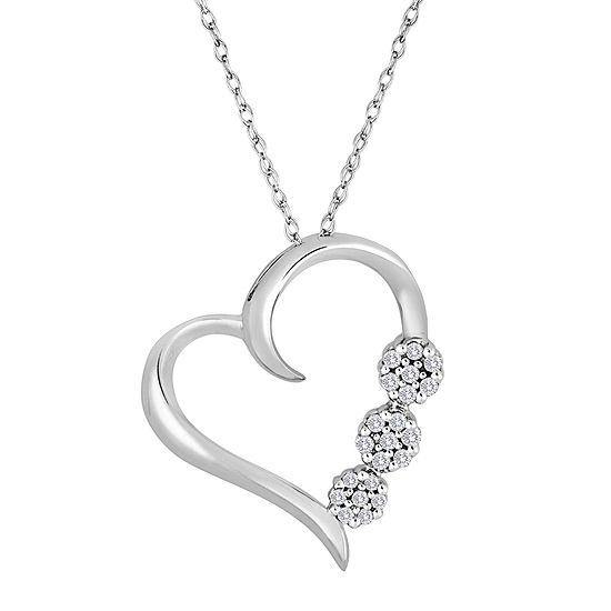 diamond blossom 1/10 CT. T.W. Diamond 3-Flower Heart Pendant Necklace