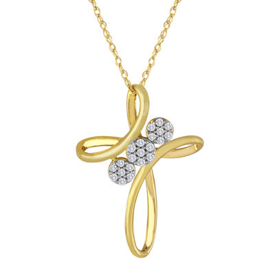 diamond blossom 1/10 CT. T.W. Diamond 3-Flower Cross Pendant Necklace