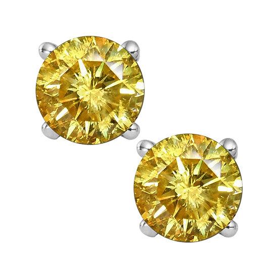 1 2 Ct Tw Color Enhanced Yellow Diamond Stud Earrings