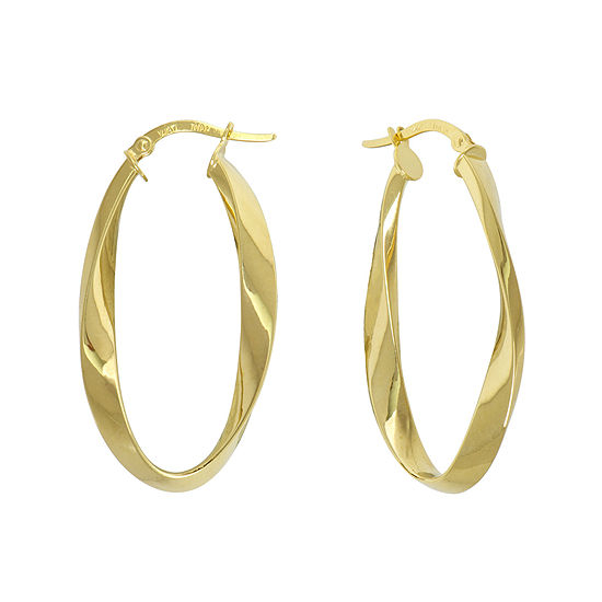 Made in Italy 14K Yellow Gold Twisted Oval Hoop Earrings