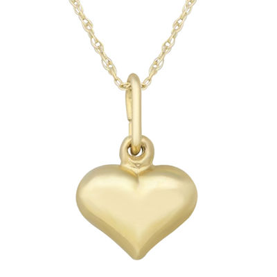 Girls 14K Yellow Gold Puff Heart Pendant Necklace
