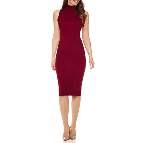 RN Studio by Ronni Nicole Sleeveless Solid Sweater Midi Sheath Dress
