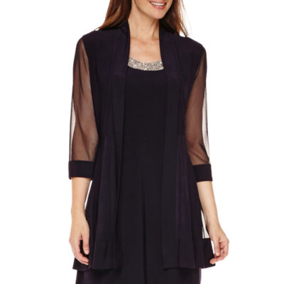 R&M Richards 3/4-Sleeve Sheer-Inset Bead Jacket Dress