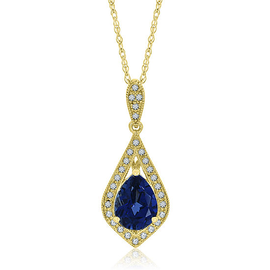 Womens Lab Created Blue Sapphire Pendant Necklace