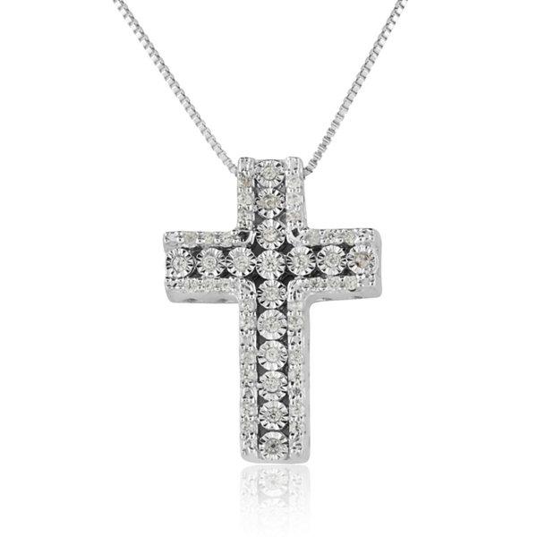 Fine Jewelry Womens 1/5 CT. T.W. White Diamond 14K Gold Over Silver Pendant Necklace EIFzX2f2