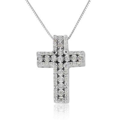Womens 1/5 CT. T.W. Genuine White Diamond Sterling Silver Cross Pendant Necklace