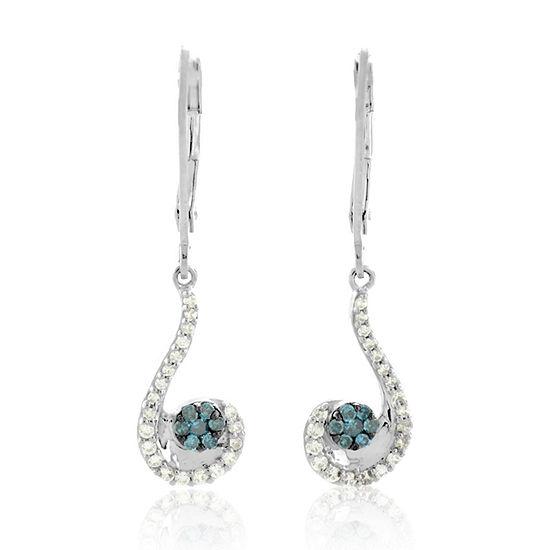 1/3 CT. T.W. Genuine Blue Diamond Sterling Silver Drop Earrings