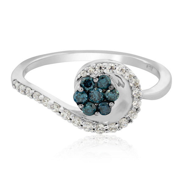 Womens 1/3 CT. T.W. Blue Diamond Sterling Silver Cocktail Ring