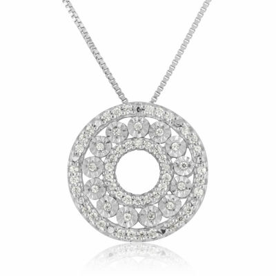 Womens 1/5 CT. T.W. Genuine White Diamond Sterling Silver Circle Pendant Necklace