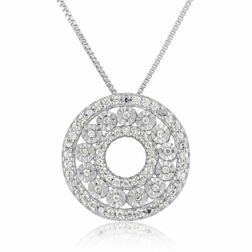 Womens 1/5 CT. T.W. White Diamond Sterling Silver Pendant Necklace