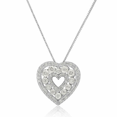 Womens 1/5 CT. T.W. Genuine White Diamond Sterling Silver Heart Pendant Necklace