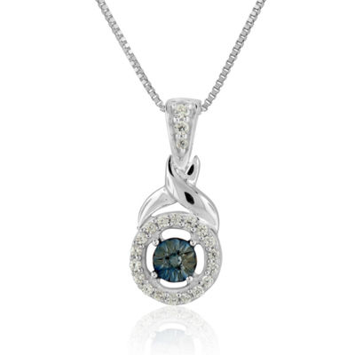 Womens 1/8 CT. T.W. Genuine Blue Diamond Sterling Silver Pendant Necklace