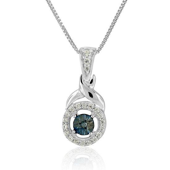 Womens 1/8 CT. T.W. Genuine Blue Diamond Sterling Silver Pendant Necklace