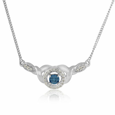 Womens 1/8 CT. T.W. Genuine Blue Diamond Sterling Silver Statement Necklace