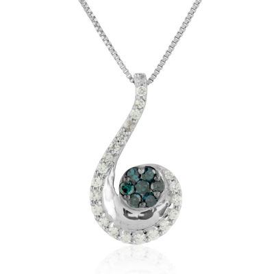 Womens 1/3 CT. T.W. Genuine Blue Diamond Sterling Silver Pendant Necklace