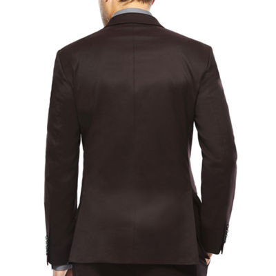 JF J. Ferrar® Burgundy Twill Suit Jacket - Slim Fit